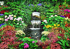 Waterfall with Colorful Flowers